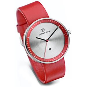 Jacob Jensen Uhrenarmband Strata 273, Leder Rot 20mm