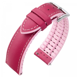 Hirsch Lindsey Performance Uhrenarmband Leder Pink / Kautschuk Rosa