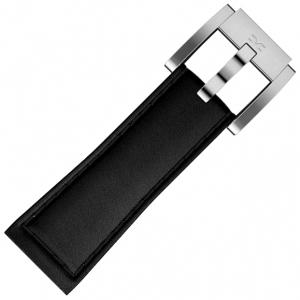 Marc Coblen / TW Steel Uhrenarmband Leder Schwarz mit Schwarzer Naht Glatt 22mm