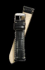 Fromanteel Alligatorgrain Uhrenarmband Schwarz mit Weisser Naht L/XL