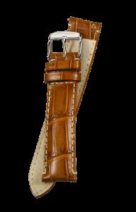 Fromanteel Alligatorgrain Uhrenarmband Cognac mit Weisser Naht L/XL