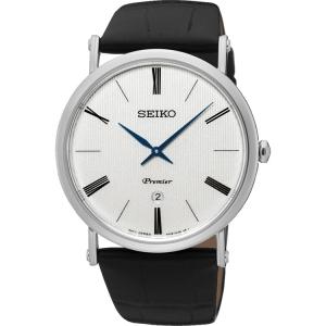 Seiko Premier Uhrenarmband SKP395 Leder Schwarz