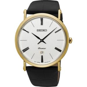 Seiko Premier Uhrenarmband SKP396 Leder Schwarz