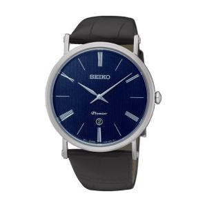 Seiko Premier Uhrenarmband SKP397 Leder Schwarz