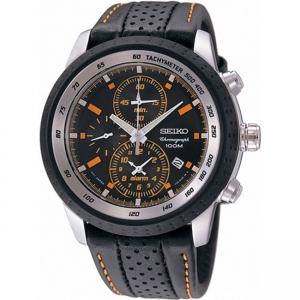 Seiko Chronograph Uhrenarmband SNAB59P1 Leder Schwarz