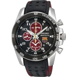 Seiko Sportura FC Barcelona Uhrenarmband SNAE75P1 Leder Schwarz