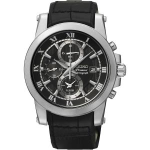 Seiko Premier Chronograph Uhrenarmband SNAF31P2 Leder Schwarz