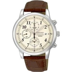 Seiko Chronograph Uhrenarmband SNDC31 Leder Braun