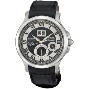 Seiko Premier Uhrenarmband SNP049P1 Leder Schwarz