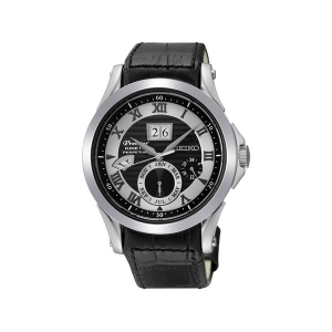 Seiko Premier Uhrenarmband SNP037 Leder Schwarz
