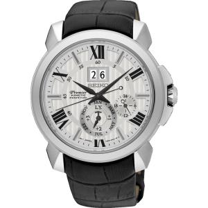 Seiko Premier Uhrenarmband SNQ143P1 Leder Schwarz