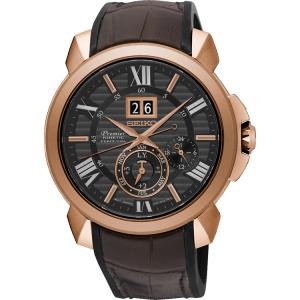 Seiko Premier Uhrenarmband SNP146P1 Gummi, Leder Braun