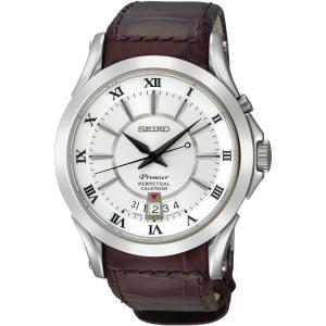 Seiko Premier Uhrenarmband SNQ105P1 Leder Braun