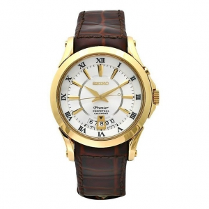 Seiko Premier Uhrenarmband SNQ118P1 Leder Braun