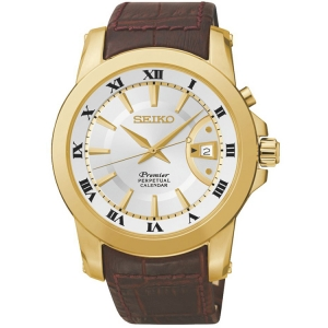 Seiko Premier Uhrenarmband SNQ144P1 Leder Braun