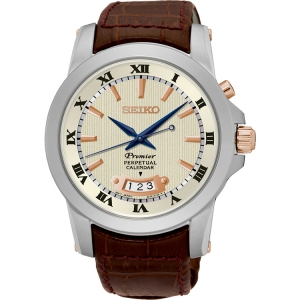 Seiko Premier Uhrenarmband SNQ150P1 Leder Braun