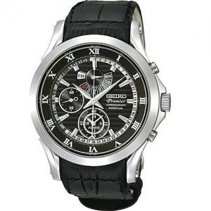 Seiko Premier Uhrenarmband SPC053P1 Leder Schwarz