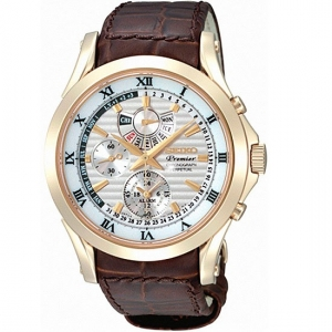 Seiko Premier Uhrenarmband SPC054P1 Leder Braun