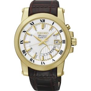 Seiko Premier Uhrenarmband SRN042P1 Leder Braun