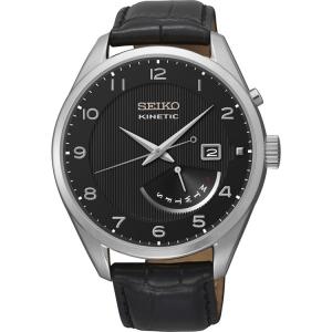 Seiko Kinetic Uhrenarmband SRN051P1 Leder Schwarz