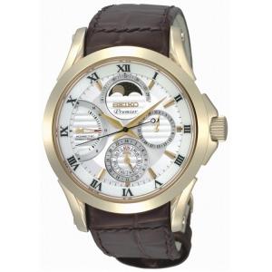 Seiko Premier Uhrenarmband SRX004P1 Leder Braun