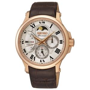 Seiko Premier Uhrenarmband SRX008P1 Leder Braun