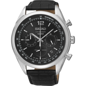 Seiko Quartz Uhrenarmband SSB097P1 Leder Schwarz