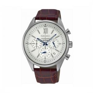Seiko Chronograph Uhrenarmband SSB157 Leder Braun