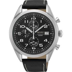 Seiko Quartz Uhrenarmband SSB271 Leder Schwarz 22mm