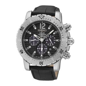 Seiko Solar Chronograph Uhrenarmband SSC223 Leder Schwarz