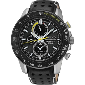 Seiko Sportura/Solar Uhrenarmband SSC361P1 Leder Schwarz