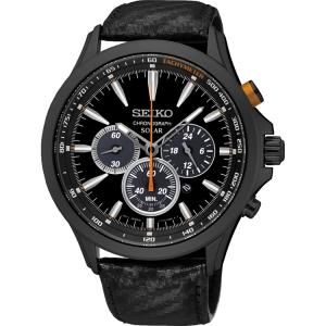 Seiko Solar Uhrenarmband SSC499P1 Leder Schwarz