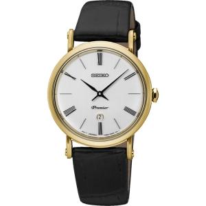 Seiko Premier Uhrenarmband SXB432P1 Leder Schwarz