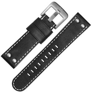 TW Steel Uhrenarmband CS1, CS3 - TWS1 Schwarz mit Weisser Naht 22 mm