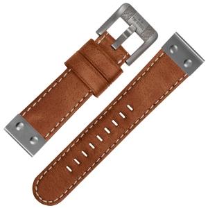 TW Steel Uhrenarmband CS16 - TWS16 Camel mit Weisser Naht und Stahlkappe 24mm