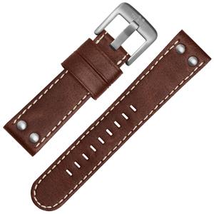 TW Steel Uhrenarmband CS21, CS23 - TWS21 Braun mit Weisser Naht 22mm