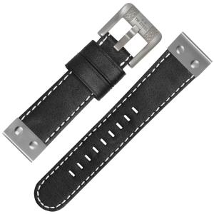 TW Steel Uhrenarmband CS6 - TWS6 Schwarz mit Weisser Naht und Stahlkappe 24mm