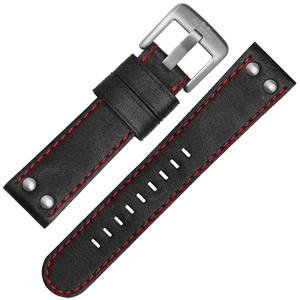 TW Steel Uhrenarmband CS8, CS10 - TWS8 Schwarz mit Roter Naht 24mm