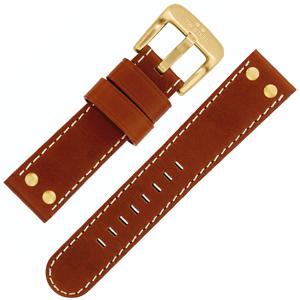 TW Steel Uhrenarmband Rotbraun, Schliesse Goldgelb 22mm