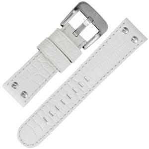 TW Steel Uhrenarmband - Weiss Krokoprint 24mm