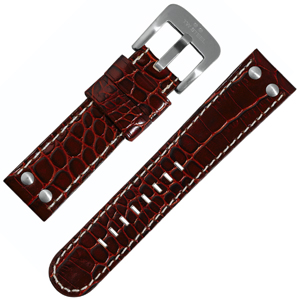 TW Steel Uhrenarmband - Kalbsleder Krokoprint Rotbraun 22mm
