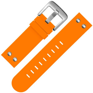 TW Steel Uhrenarmband TW530 Gummi mit Nieten Orange 22 mm