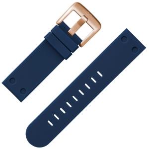 TW Steel Uhrenarmband Gummi Dunkelblau Rosegoldene Schliesse 22 mm