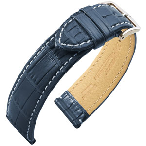 Hirsch Viscount II Alligator Uhrenarmband WR Halb-Matt Blau