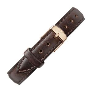 Daniel Wellington 14mm Petite Bristol Uhrenarmband Leder Dunkelbraun mit Roséschliesse