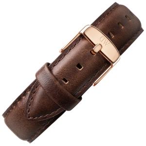 Daniel Wellington 19mm Dapper Bristol Uhrenarmband Leder Dunkelbraun mit Roséschliesse