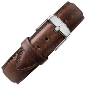 Daniel Wellington 17mm Dapper Bristol Uhrenarmband Leder Dunkelbraun mit Stahlschliesse