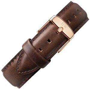 Daniel Wellington 18mm Classic Bristol Uhrenarmband Leder Dunkelbraun mit Roséschliesse