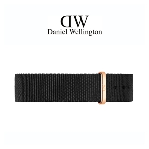 Daniel Wellington 14mm Petite Cornwall Uhrenarmband NATO Schwarz mit Roséschliesse
