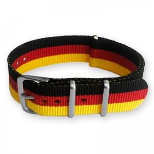 """Schwarz Rot Gold """"Deutschland"""" NATO Uhrenarmband Nylon"""